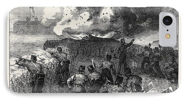 Siege Operations At Chatham Explosion Of A Mine 1871 IPhone Case by English School