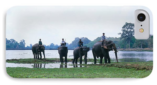 Siem Reap River & Elephants Angkor Vat IPhone Case by Panoramic Images