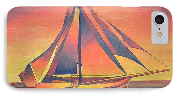 IPhone Case featuring the painting Sienna Sails At Sunset by Tracey Harrington-Simpson
