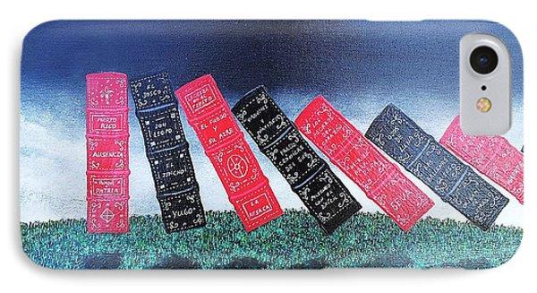 IPhone Case featuring the painting Siete Cuentistas Y Un Poeta by Edwin Alverio