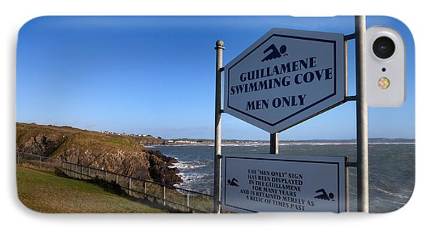 Sign At Guillamene Swimming Cove IPhone Case by Panoramic Images
