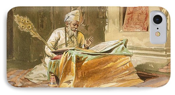 Sikh Priest Reading The Grunth IPhone Case by William 'Crimea' Simpson