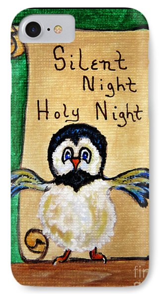 Silent Night - Whimsical Chickadee Choir Director IPhone Case by Ella Kaye Dickey