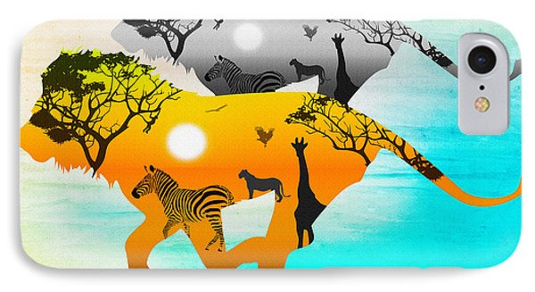 Silhouette Lions On A Hunt.  IPhone Case by Don Kuing