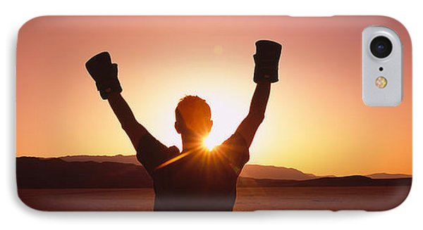 Silhouette Of A Person Wearing Boxing IPhone Case by Panoramic Images