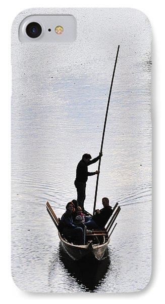 Silhouette Of A Punt On The River Phone Case by Matthias Hauser