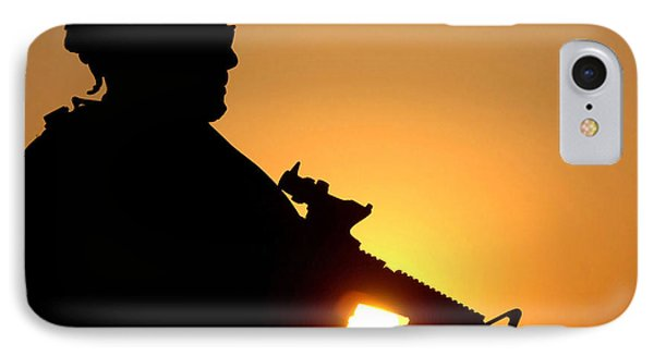 Silhouette Of A U.s. Army Soldier IPhone Case