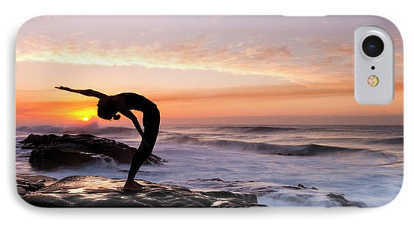 Silhouette Of A Woman Practicing Yoga IPhone Case by Panoramic Images