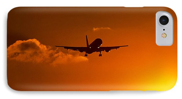 Silhouette Of Airliner In Golden Sunset IPhone Case by Panoramic Images