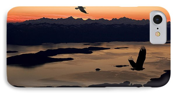 Silhouette Of Bald Eagles In Flight At IPhone Case