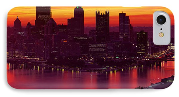 Silhouette Of Buildings At Dawn, Three IPhone Case by Panoramic Images