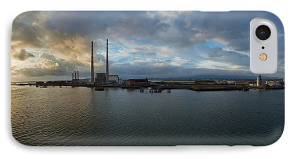 Silhouette Of Chimneys Of The Poolbeg IPhone Case by Panoramic Images