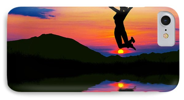 Silhouette Of Happy Woman Jumping At Sunset IPhone Case