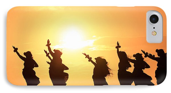 Silhouette Of Hula Dancers At Sunrise IPhone Case by Panoramic Images