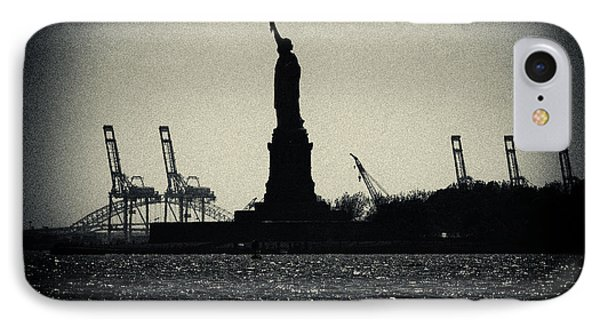Silhouette Of Miss Liberty Phone Case by Sabine Jacobs