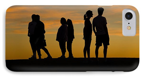 Silhouette Of People On A Hill, Baldwin IPhone Case by Panoramic Images