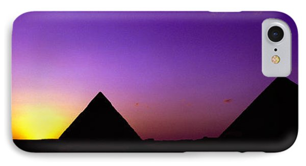 Silhouette Of Pyramids At Dusk, Giza IPhone Case
