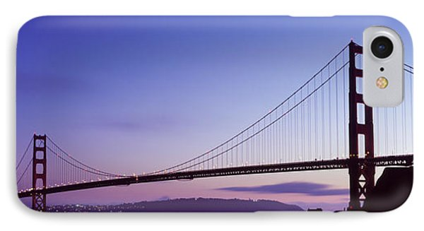 Silhouette Of Suspension Bridge IPhone Case by Panoramic Images
