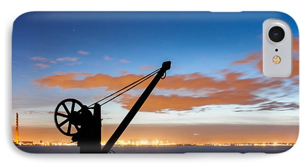 Silhouette Of The Davit In Dublin Port Phone Case by Semmick Photo