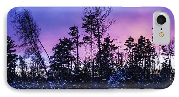 Silhouette Of Trees During A Colourful Phone Case by Jacques Laurent