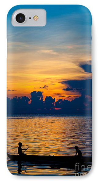 Silhouette On Peaceful Sunset Borneo Malaysia IPhone Case by Fototrav Print