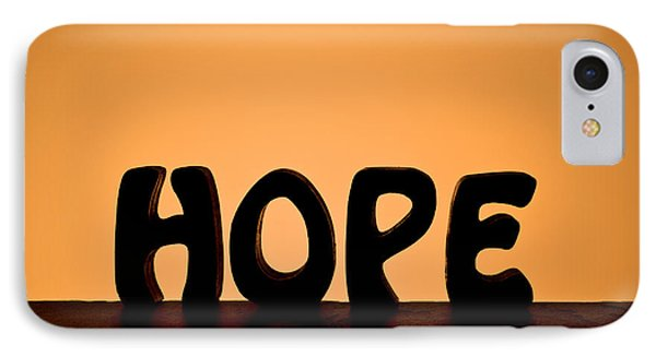 Silhouette Single Word Hope IPhone Case by Donald  Erickson