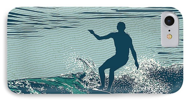 Pacific Ocean iPhone 7 Case - Silhouette Surfer And Big Wave by Jumpingsack