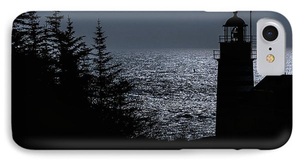 Silhouette West Quoddy Head Lighthouse IPhone Case by Marty Saccone