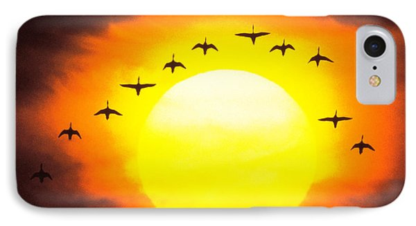 Silhouetted Birds In Sunset IPhone Case by Panoramic Images