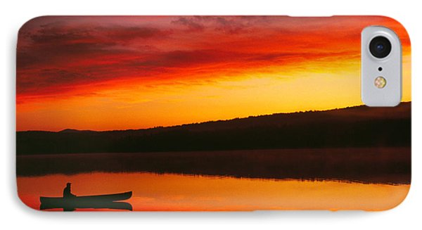 Silhouetted Canoe On Lake IPhone Case by Panoramic Images