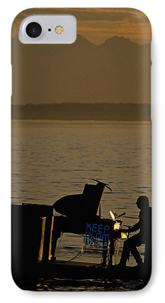 Silhouetted Sea Monster Playing Piano.tif Phone Case by Jim Corwin