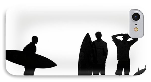 Silhouetted Surfers Phone Case by Sean Davey