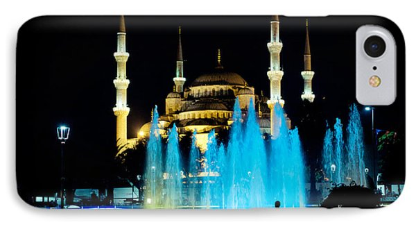 Silhouettes Of Blue Mosque Night View Phone Case by Raimond Klavins