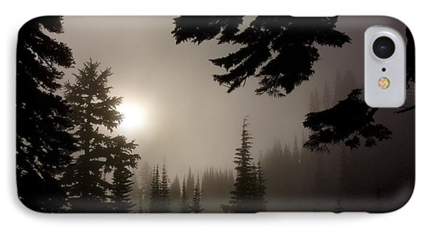 Silhouettes Of Trees On Mt Rainier IPhone Case