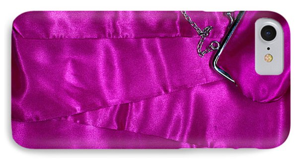 IPhone Case featuring the photograph Silk Background With Purse by Gunter Nezhoda