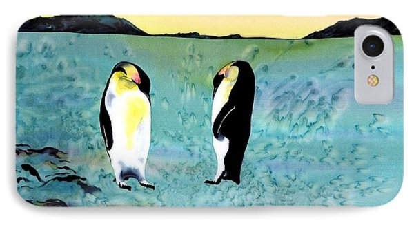 Silk Penguins Phone Case by Carolyn Doe