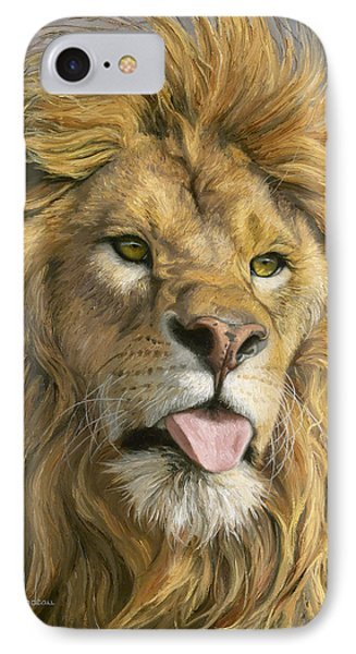 Lion iPhone 7 Case - Silly Face by Lucie Bilodeau