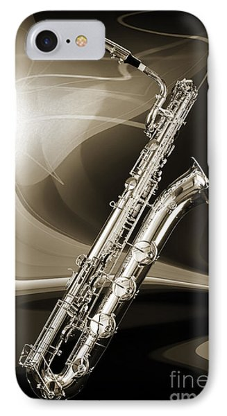 Silver Baritone Saxophone Photograph In Sepia 3459.01 IPhone Case