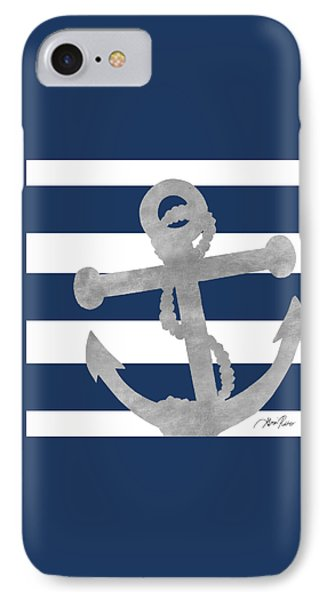 Silver Coastal On Blue Stripe I IPhone Case by Gina Ritter