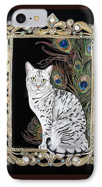 IPhone Case featuring the painting Silver Egyptian Mau by Leena Pekkalainen