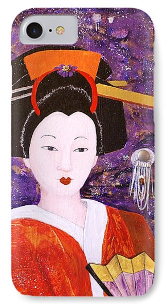 Silver Moon Geisha Phone Case by Jane Chesnut