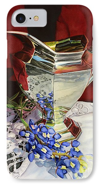 Silver Pitcher And Bluebonnet IPhone Case