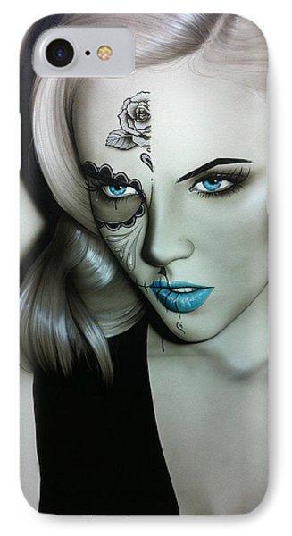 Sugar Skull - ' Silver Soul ' IPhone Case by Christian Chapman Art