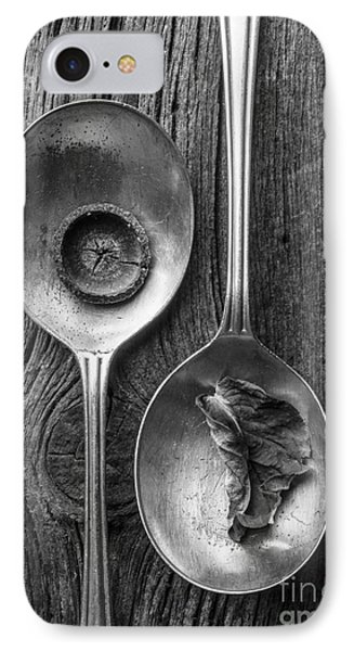 Silver Spoons Black And White Phone Case by Edward Fielding