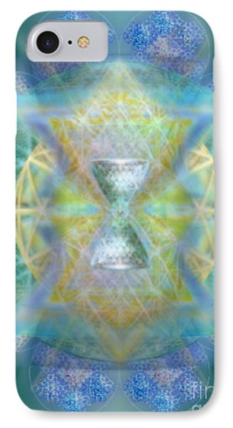 IPhone Case featuring the digital art Silver Torquoise Chalicell Ring Flower Of Life Matrix by Christopher Pringer