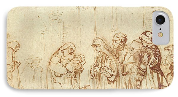 Simeon And Jesus In The Temple Phone Case by Rembrandt Harmenszoon van Rijn