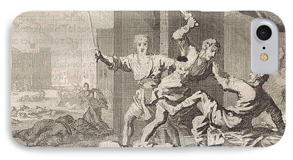 Simeon And Levi Kill The Shechemites, Jan Luyken IPhone Case by Jan Luyken And Pieter Mortier