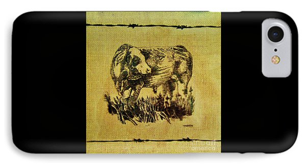 IPhone Case featuring the drawing Simmental Bull 12 by Larry Campbell
