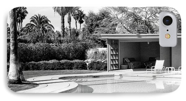 Sinatra Pool And Cabana Bw Palm Springs IPhone Case