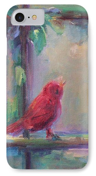 IPhone Case featuring the painting Sing Little Bird by Mary Wolf